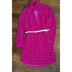 Pink Polkadot Dress w/ Belt (Size/XS)